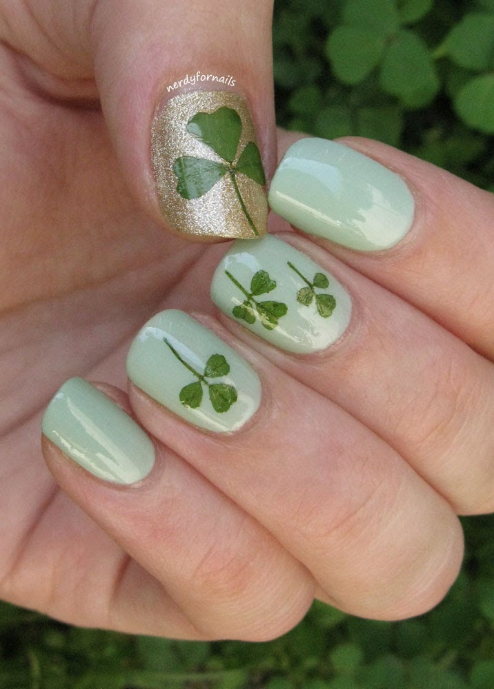 Ireland Inspired Real Clover Nails