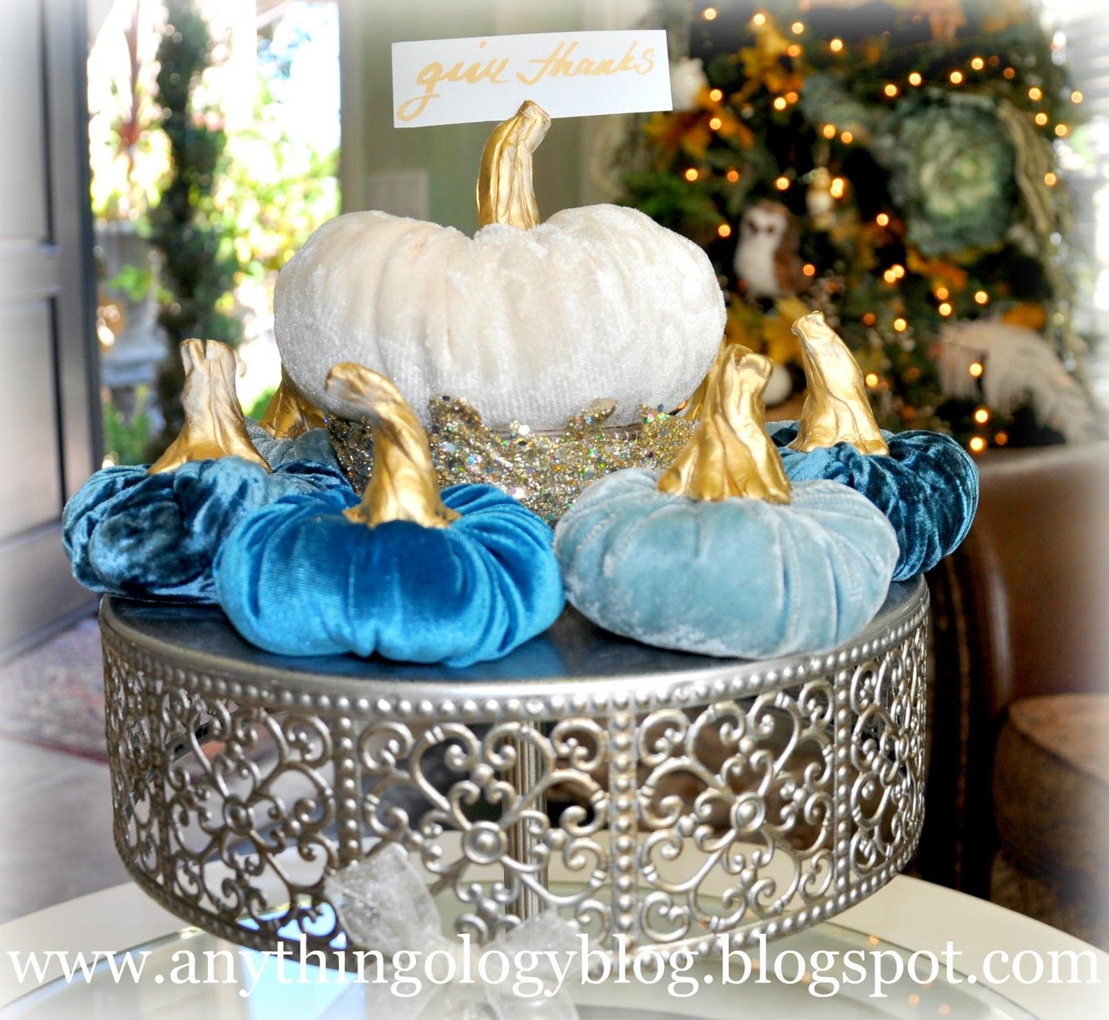 Pumpkin stems for crafts - Velvet Pumpkins And A Thanksgiving Tablescape Preview