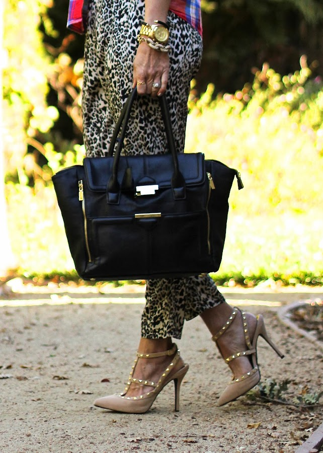 michael kors watch leopard pants and studded pumps