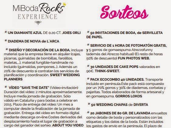 Sorteos de Mi Boda Rocks Experience Barcelona 2015