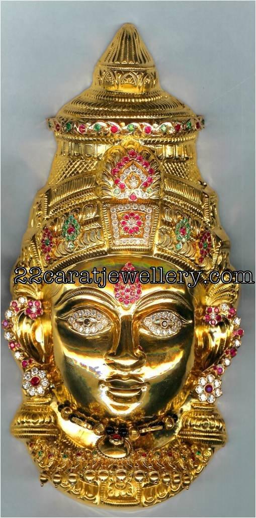 Goddess Varalaxmi And Lord Ganesh Gold Statues Jewellery