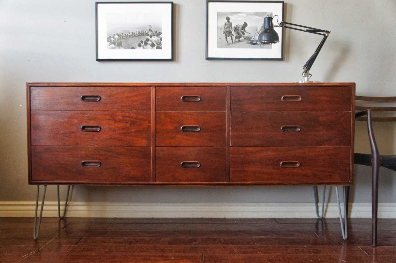 european paint finishes mid century teak dresser on hairpin legs. Black Bedroom Furniture Sets. Home Design Ideas