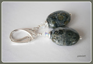 kolczyki srebrne wiszące, jaspis, Svarki
