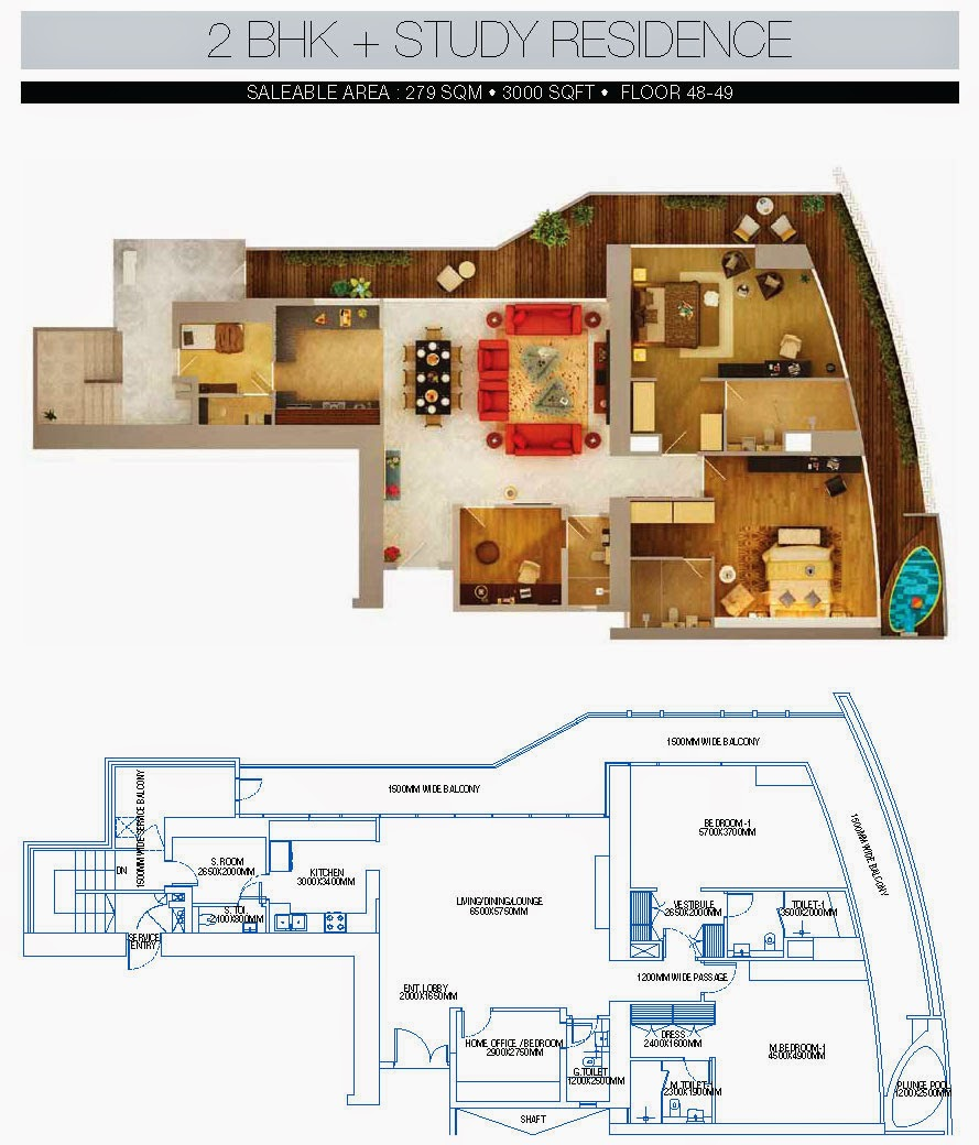 BRYS BUZZ :: Floor Plans 2 BHK + Study Residence