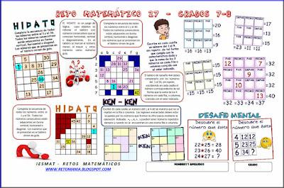 El número que falta, Descubre el número, ¿Cuál es el número?, Problemas matemáticos, Problemas de lógica, Problemas de ingenio, Problemas para pensar, Desafíos matemáticos, Desafíos mentales, Retos Matemáticos, Sudoku, Ken-Ken, Ken ken, Kendoku, Mathdoku, Calcudoku, Matematigramas, Hidoto