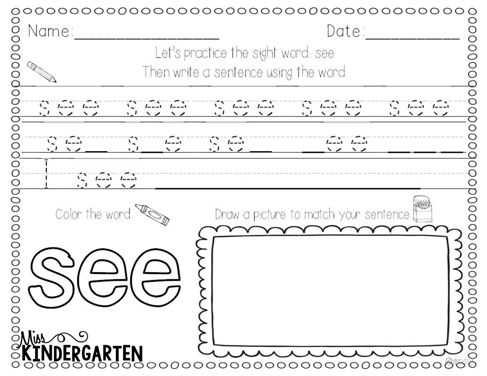 Worksheet Sentences Using Sight Words sight word practice miss kindergarten httpwww teacherspayteachers comproductsight word