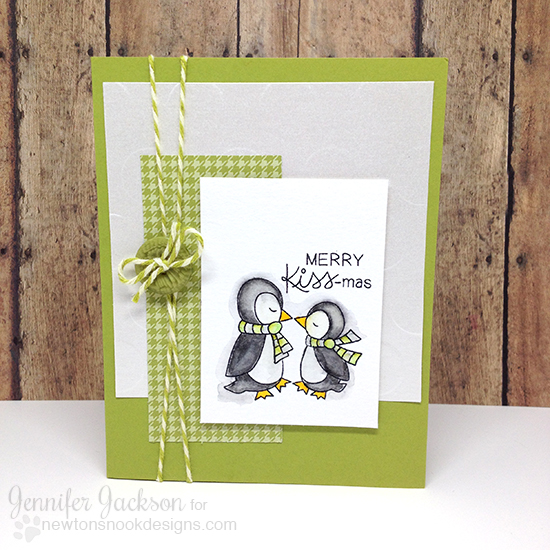 Merry KISS-mas Penguin holiday card by Jennifer Jackson | Holiday Smooches stamp set Newton's Nook Designs #newtonsnook