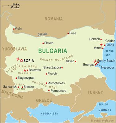 mapa de Bulgaria
