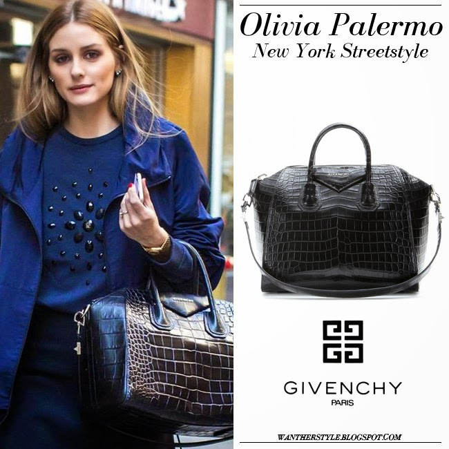 5f929b5c1f2f Olivia Palermo in blue akris jacket blue sweater with black tote givenchy  antigona crocodile want her