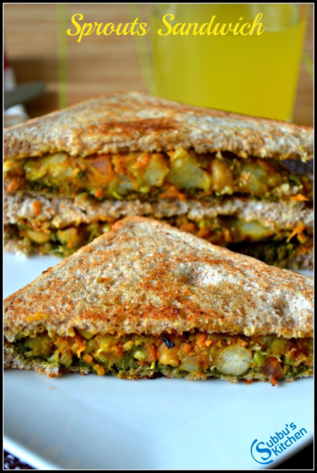 Sprouts Masala Sandwich