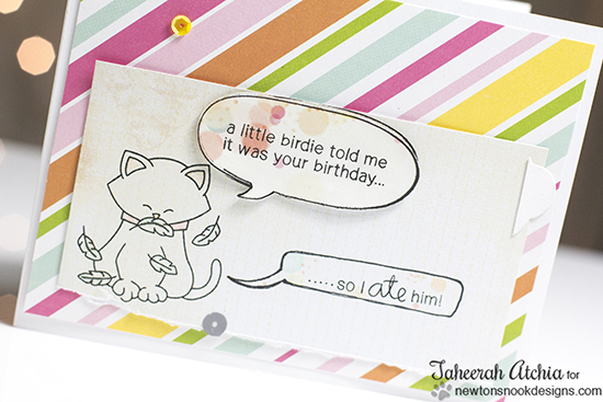Cat Birthday card by Taheerah Atchia | Newton's Birthday Flutter Stamp set by Newton's Nook Designs