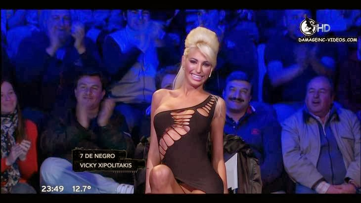 Argentina showgirl Victoria Xipolitakis pussy upskirt on tv