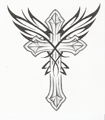Cross with Wings Tattoo Drawing