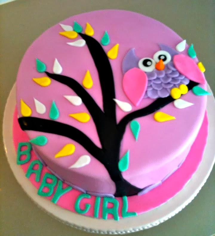love this bright pink and purple cake with an owl sitting on a tree