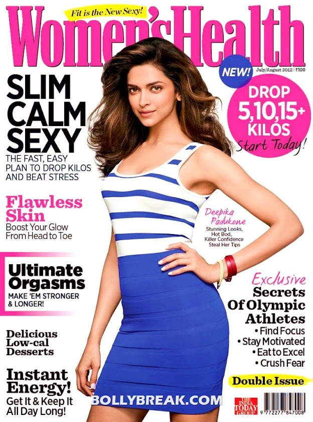Deepika Padukone on Womens Health Magazine Cover page - Deepika Padukone Women's Health Magazine Sans 2012