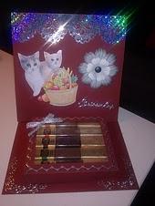 easelkaart met chocolaatjes