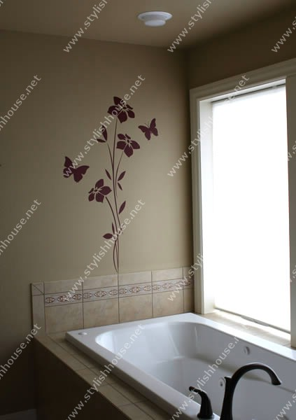 Stylish butterflies and flowers wall stickers drawings for bathroom decorating