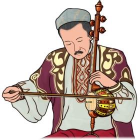 ギジェクを演奏する男性の図