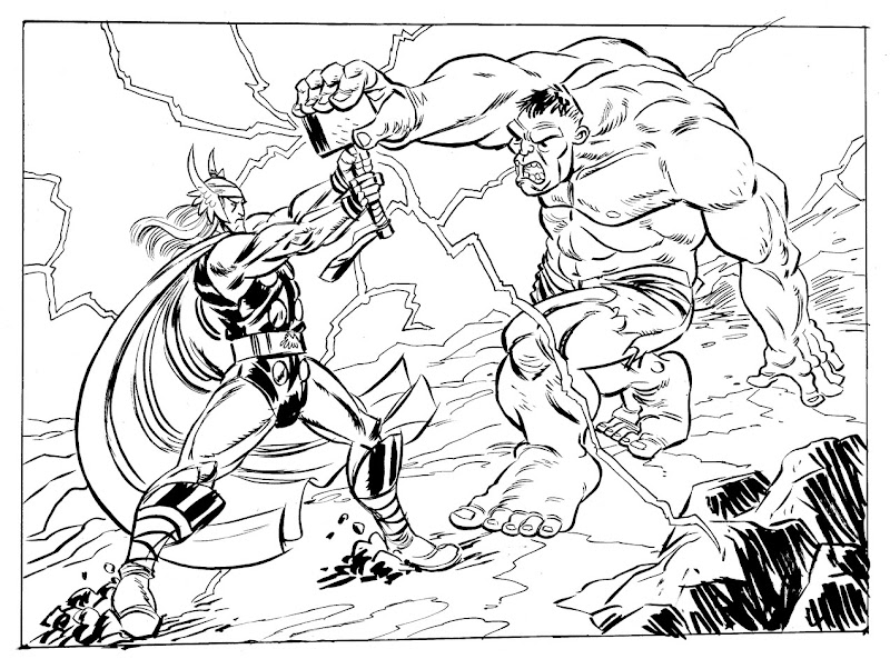 Drawing of Thor fighting With Hulk to color title=