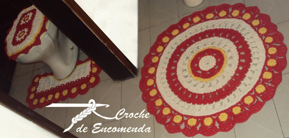 Jogo De Banheiro Amarelo Com Vermelho : Croche de encomenda jogo banheiro vermelho e amarelo