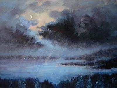 Rain, Chuva, Pintura, Painting, Rainy Night, Noite Chuvosa
