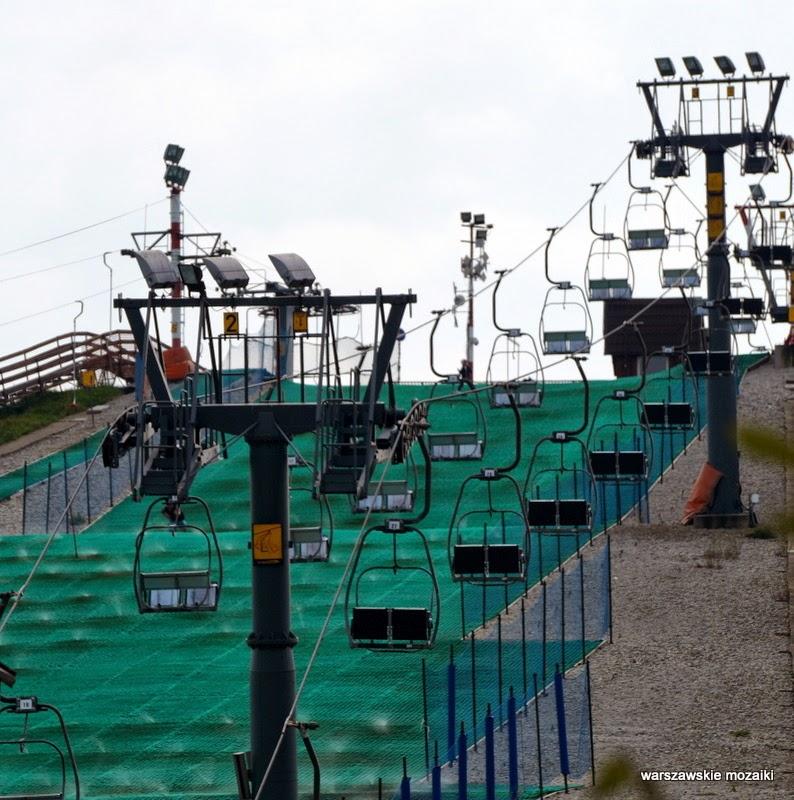 wyciągi kolejka Warszawa Ochota Szczęśliwice parki glinianka górka wyciąg narciarski zieleń zbiornik wodny aleja