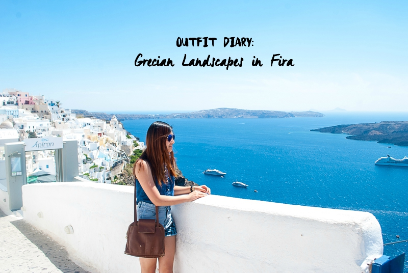 White walls and OOTD in Fira, Santorini, Greece