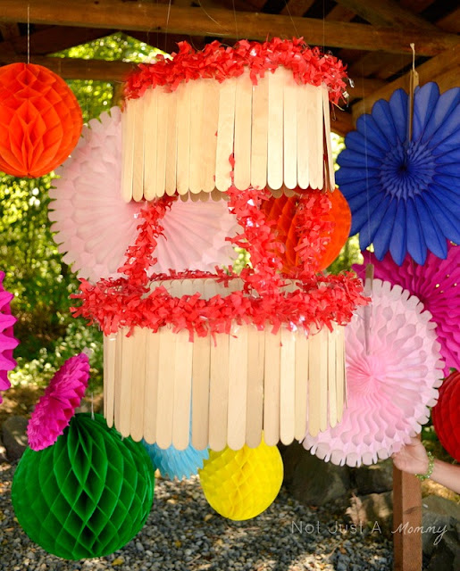 Pop Up Popsicle Party jumbo popsicle stick chandelier