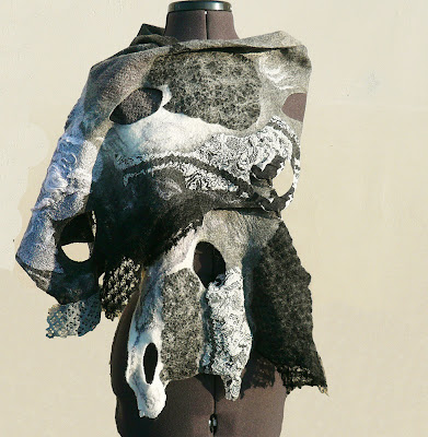wool scarf, nuno felted, black, white, silk, fiber art ooak