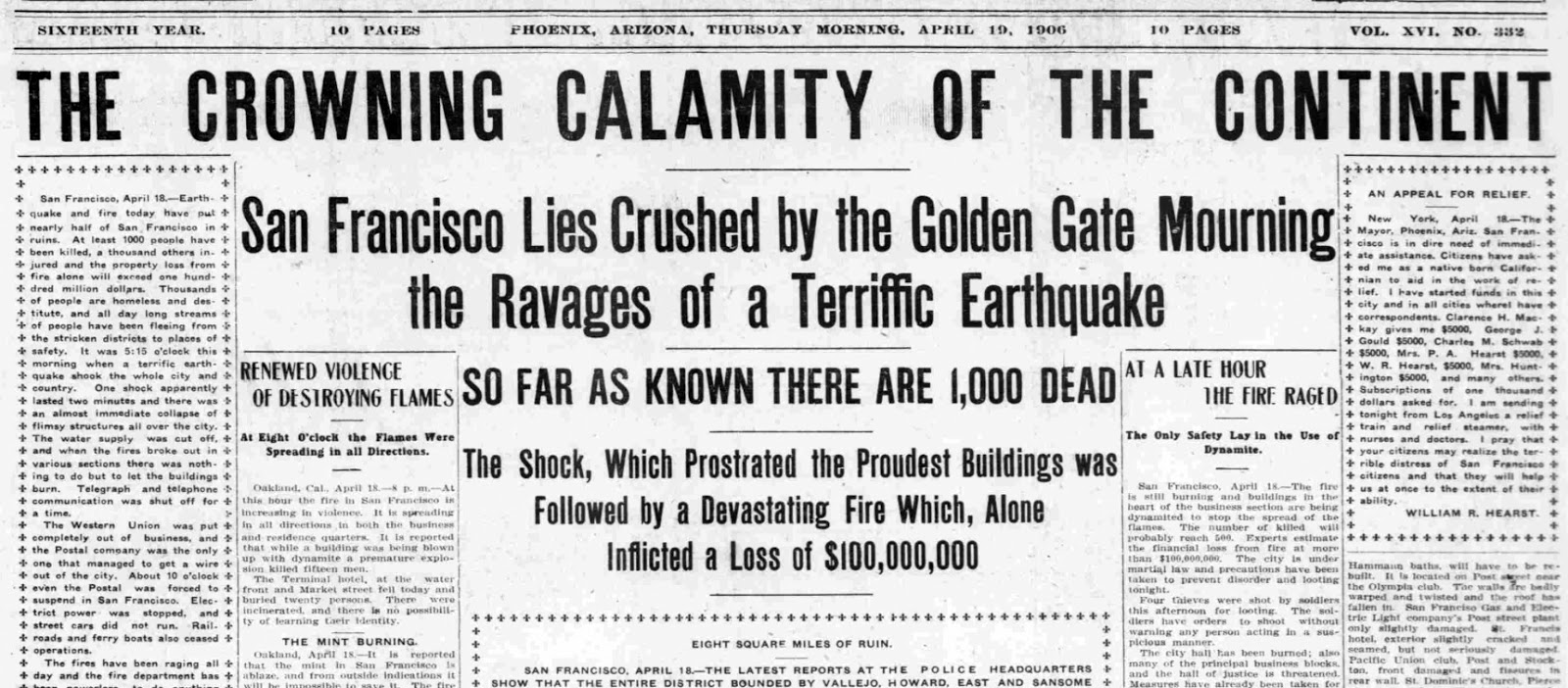 how phoenix was affected by the 1906 san francisco earthquake