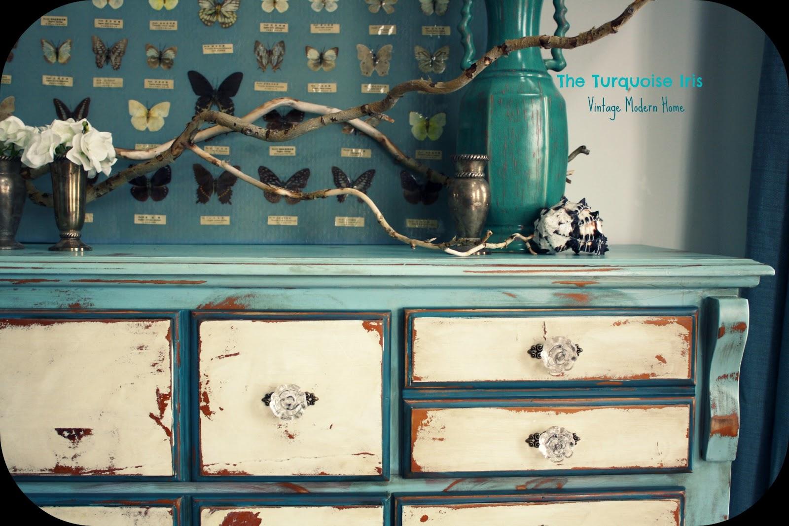Vintage Distressed Dresser In Blue U0026 Creme