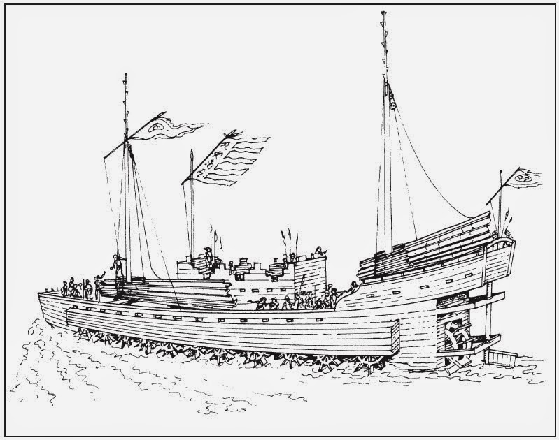 cog and galley chinese paddle wheel ships