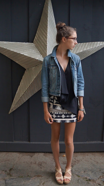 American Eagle jean jacket, H&M top, Topshop skirt, Joe Fresh Nude flatforms/platforms
