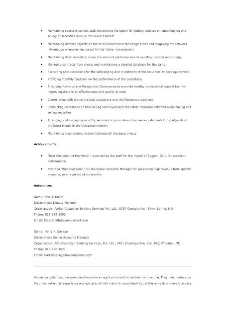 resume samples custodian resume