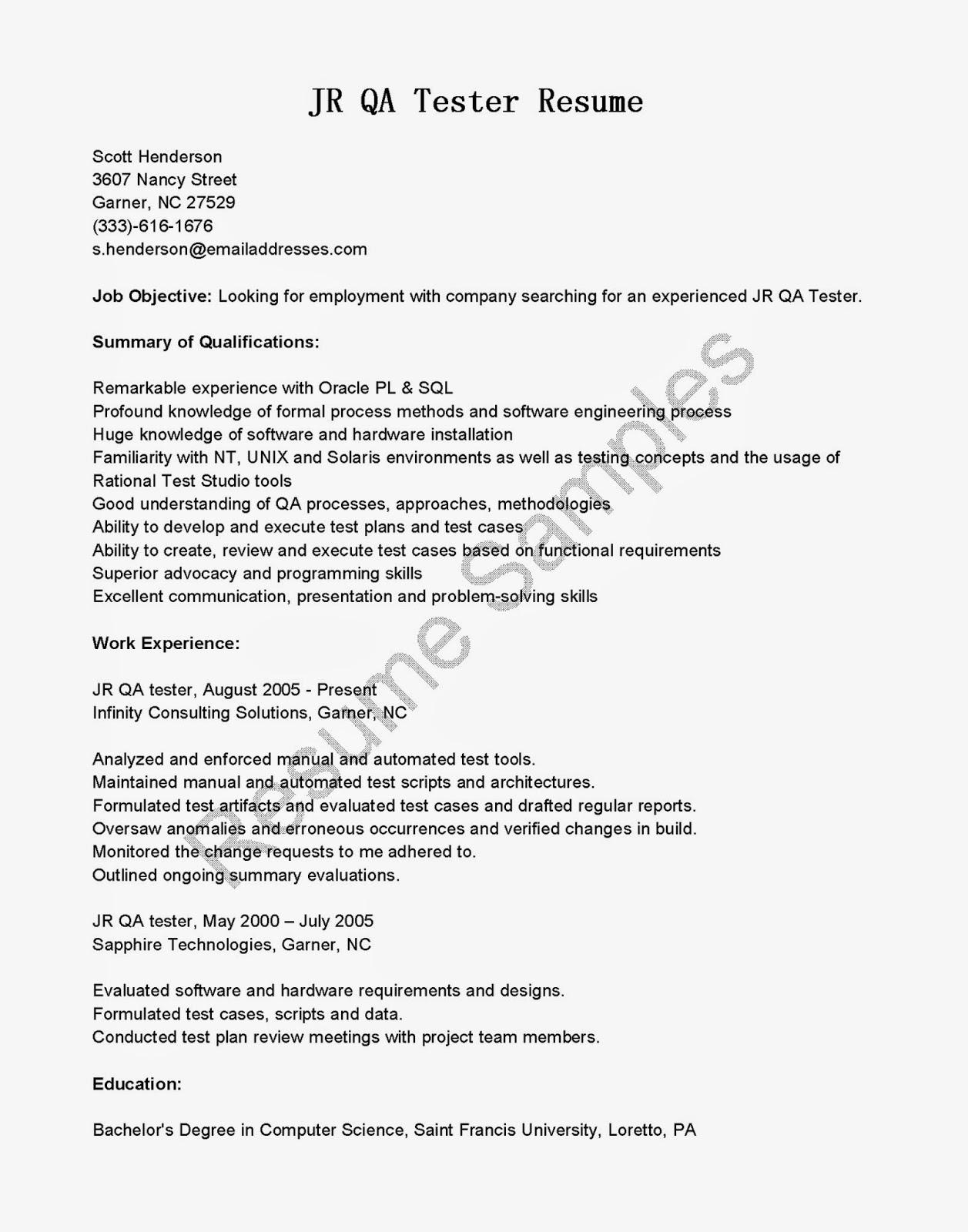 Sample Qa Resume   Resume CV Cover Letter