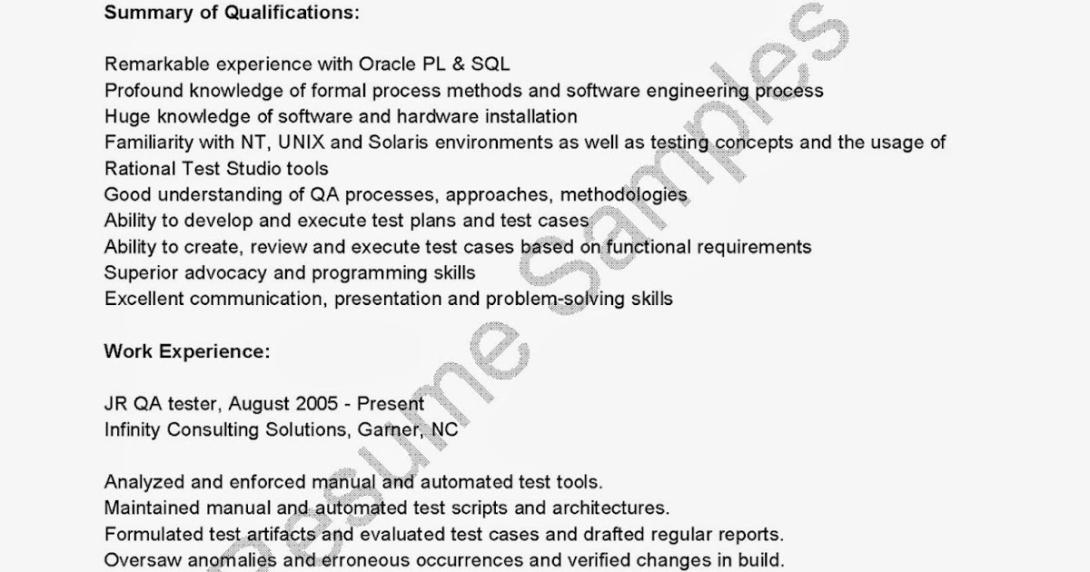 resume samples  jr qa tester resume sample