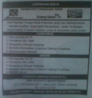 Lowongan Task Force & Driver PT Surya Madistrindo (Distributor Rokok Gudang Garam) Lampung