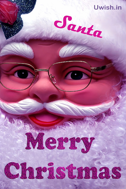 Merry Christmas wishes and greetings with Santa Claus