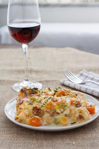 ricette autunno lasagne zucca, gorgonzola, noci, porro