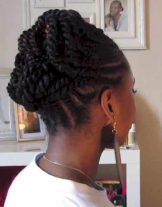 twist and curls hairstyles : Flat Twist Hairstyle With Bun LONG HAIRSTYLES