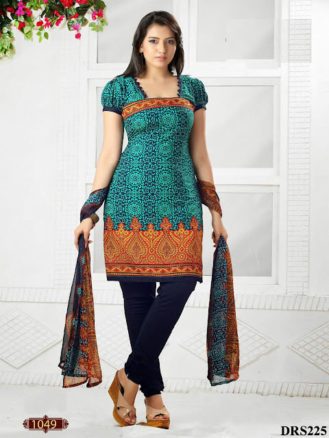 Exclusive Crepe Cotton Churidar Dress Material