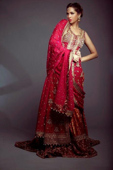 Mifrah bridal dresses 2015 red beige bridal dresses for Red winter wedding dresses