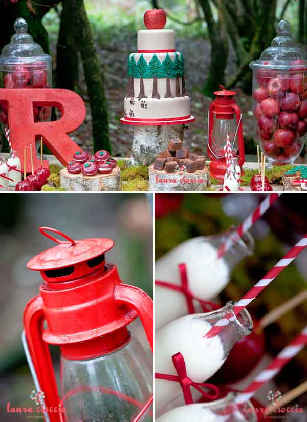 detalles de mesa bufet fiesta infantil en rojo