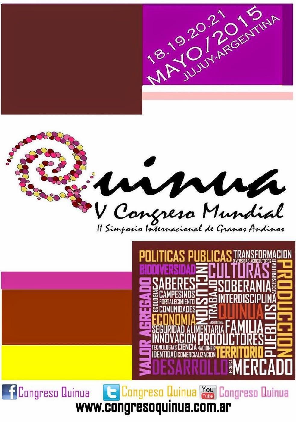 V CONGRESO MUNDIAL DE LA QUINUA Y I SIMPOSIO INTERNACIONAL DE GRANOS ANDINOS