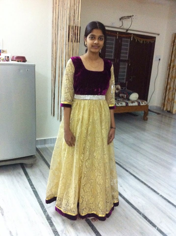 514e804ddd63 Check out the latest long frock for college going teens with cool cream and  chocolate color the top of the frock is made with velvet and with cute  design.