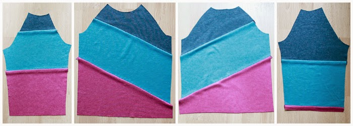 Asymmetrical color blocking on knit can be done with a pattern you already have on hand with the help of this quick tutorial and tips from The Inspired Wren.
