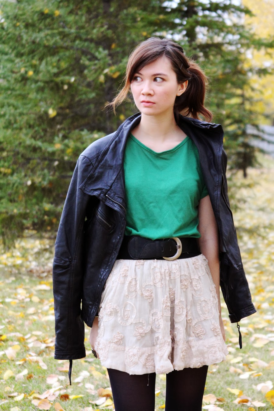 Summer to Fall Fashion, Leather Jacket, Autumn Fashion, Danier, Steve Madden, Forever21, lace and leather
