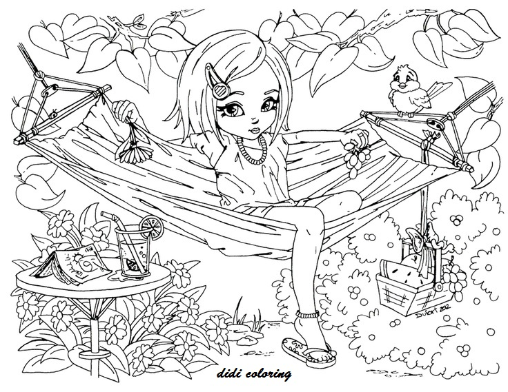 Printable Summer time girl enjoy on hammock didi coloring pages ...
