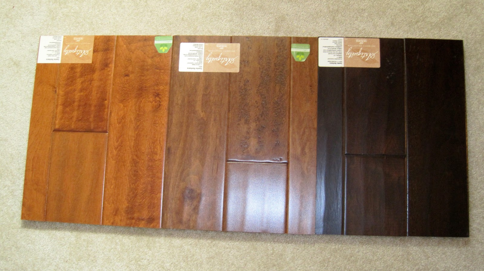I married a tree hugger hardwood choices for Different colors of hardwood floors