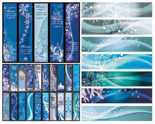 Blue Christmas vector banners